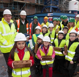 Site Manager Chris Wylde with pupils from Park View Primary School